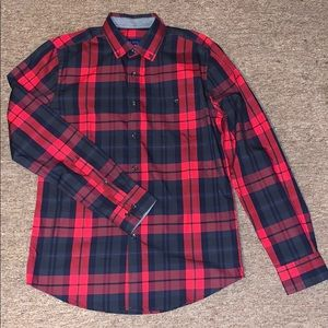 SMALL Red & Navy Flannel Shirt